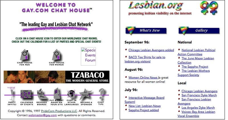 Gay.com as it appeared in February 1997, lesbian.org in November 1996