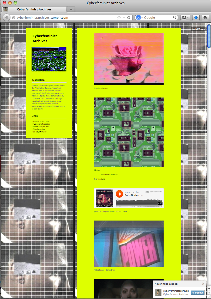 Screenshot. Miki Foster, Cyberfeminist Archives, 2013.