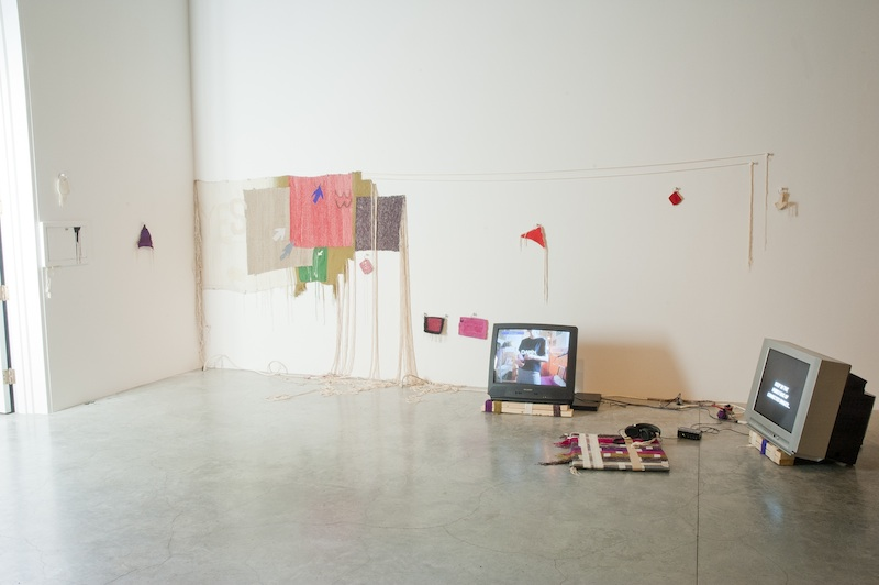 My Sex Website (2014) Tapestry installation with cotton, wool, silk, lurex, leather, wood and paint.  8' x 15' installed (variab