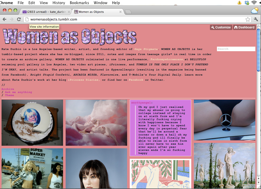 Kate Durbin, Women as Objects (screen shot), 2011. Permission of the artist.