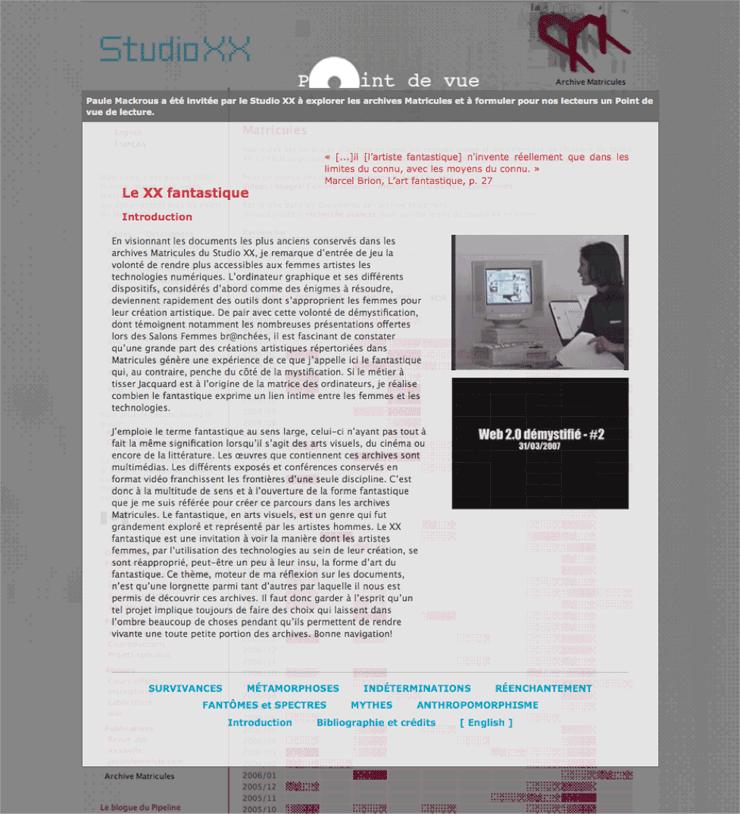 Capture d'écran du projet Le XX Fantastique de Paule Mackrous, 2009.