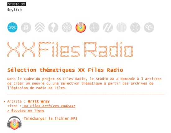 Capture d'écran du Projet de sélections thématiques radio XX Files, 2010.